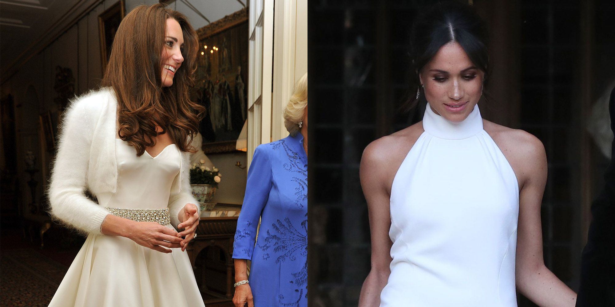 18690b7163 Meghan Markle s Second Royal Wedding Dress Compared To Kate Middleton s