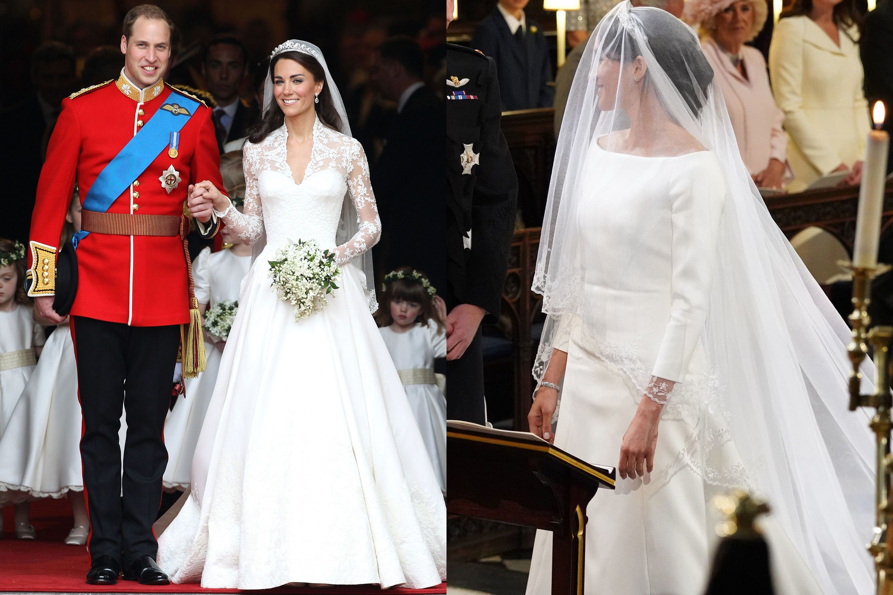 b4c30ce2b70 A look at the similarities—and major differences—between Kate and Meghan s  wedding gowns.
