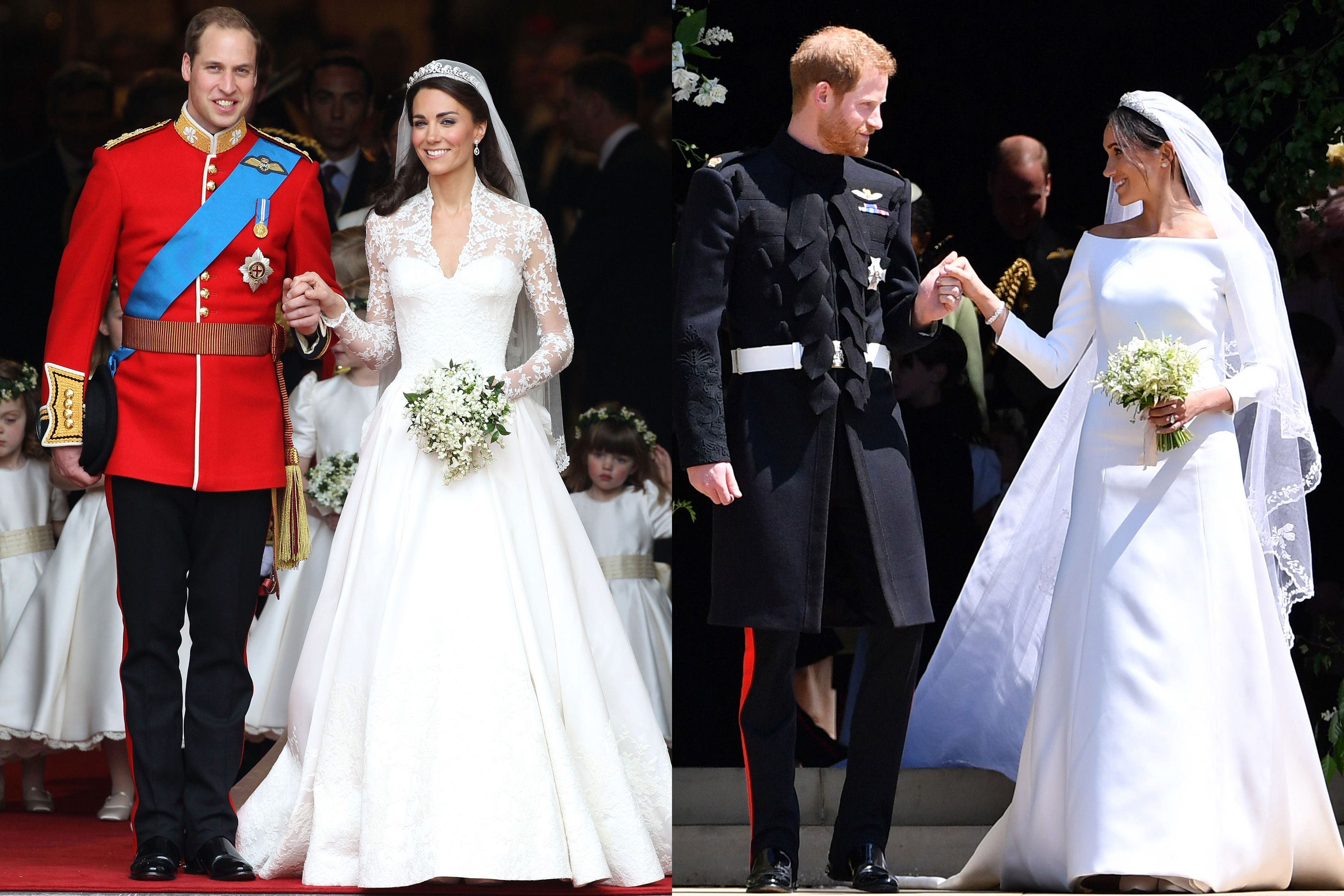 meghan markle's royal wedding dress compared to kate