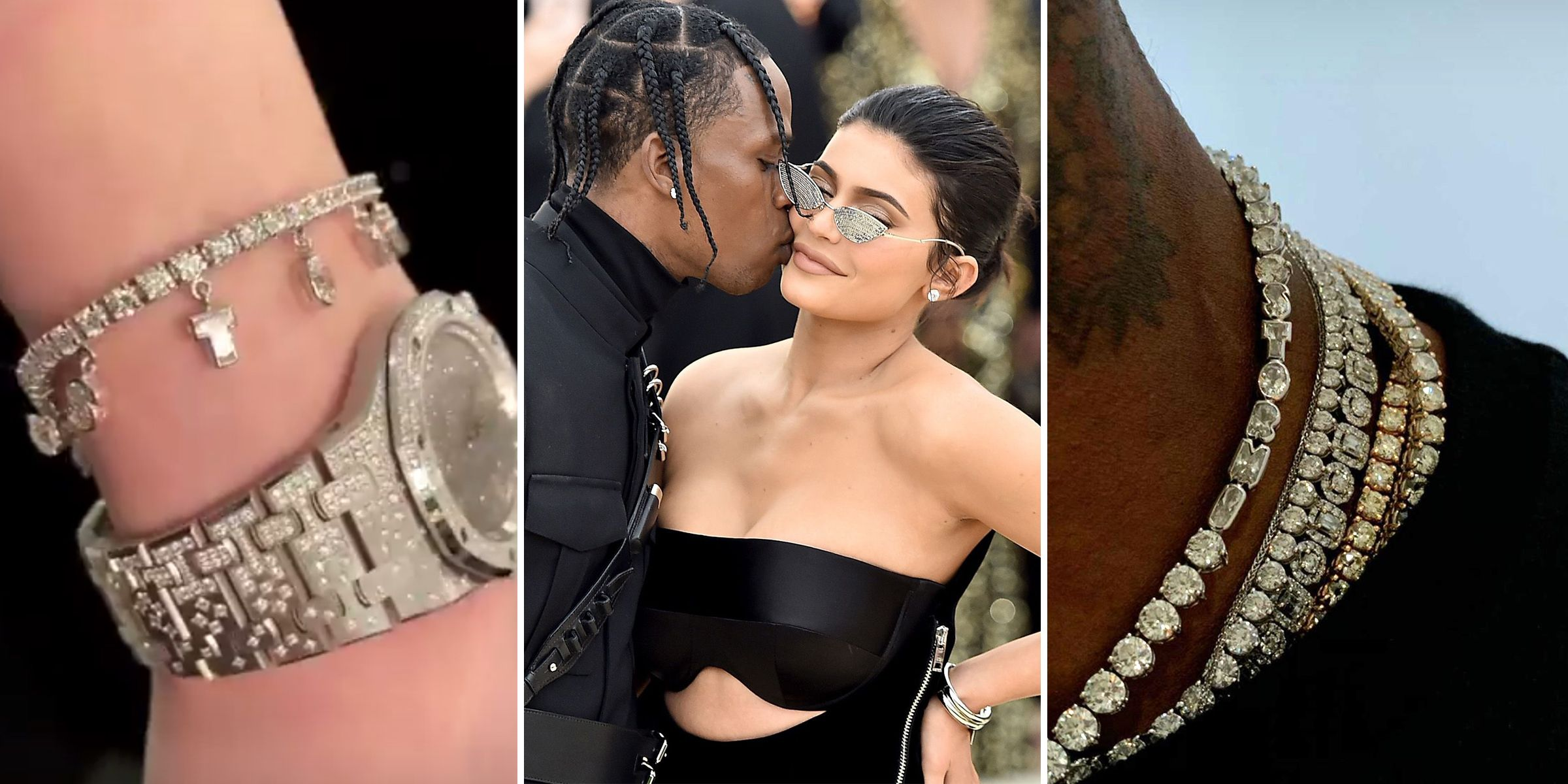 a0fc10186bbd Kylie Jenner and Travis Scott Wear Matching Diamonds Cut Into Stormi's Name