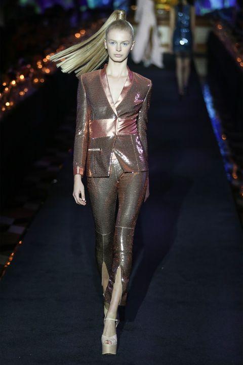 Fashion model, Fashion, Runway, Fashion show, Haute couture, Event, Model, Fashion design, See-through clothing, Thigh,