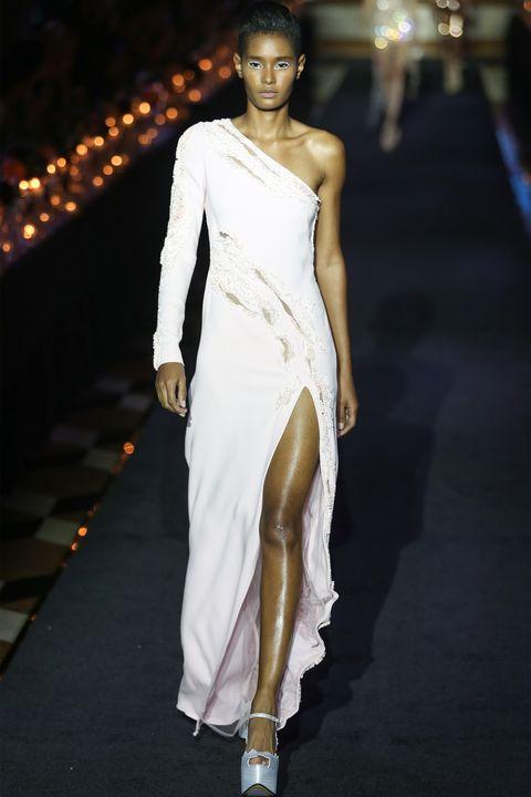 Fashion model, Fashion, White, Shoulder, Clothing, Runway, Dress, Fashion show, Haute couture, Joint,