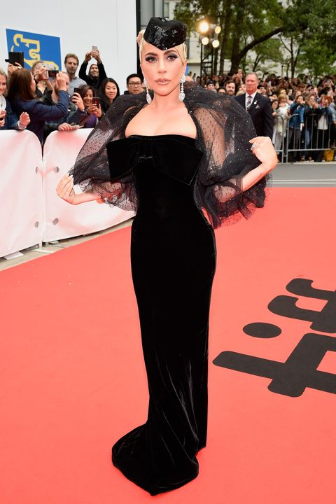 Lady Gaga Wears a Veiled Dress at the Toronto Film Festival Red Carpet