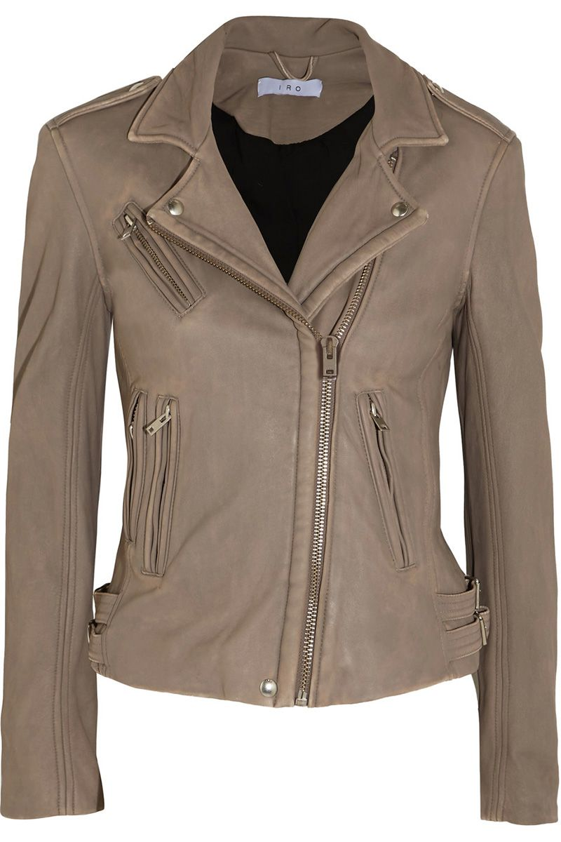 Womens tan leather look jacket