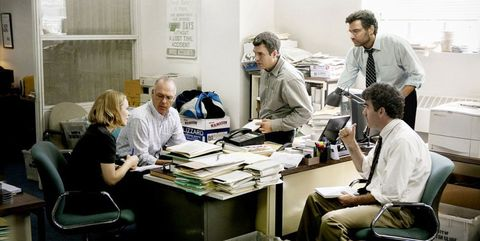SPOTLIGHT, l-r: Rachel McAdams, Michael Keaton, Mark Ruffalo, Liev Schreiber, Brian D'arcy James,