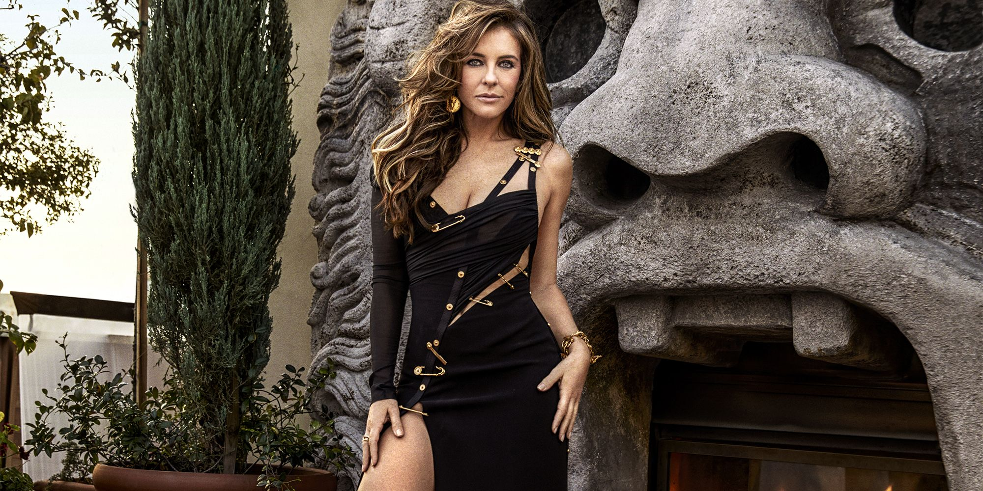 Elizabeth Hurley Recreates Famous Versace Pin Dress And Reveals