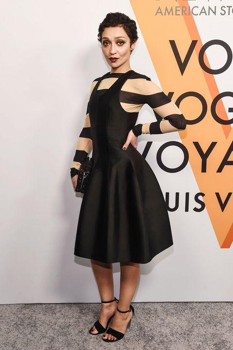 Clothing, Dress, Fashion model, Shoulder, Cocktail dress, Fashion, Little black dress, Hairstyle, Footwear, A-line,