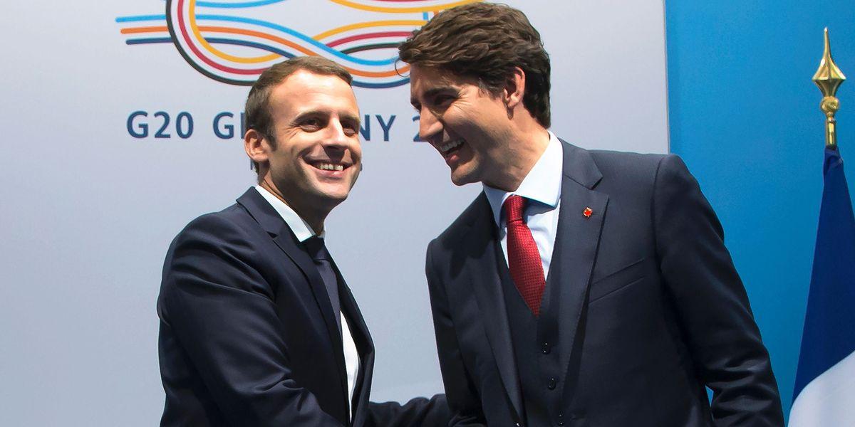 Justin Trudeau And Emmanuel Macron Hug Justin Trudeau And Emmanuel Macron Bromance At G20 Summit