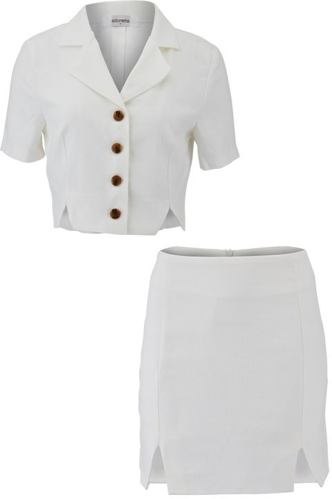 White, Clothing, Sleeve, Outerwear, Collar, Button, Beige, Uniform, Neck, Formal wear,