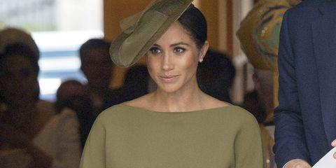 2594da97c Meghan Markle Wears Ralph Lauren Dress to Prince Louis' Christening ...