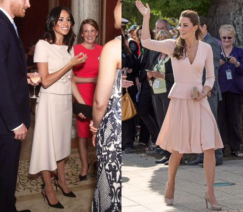 Kate and Meghan both wearing pink skirt suits