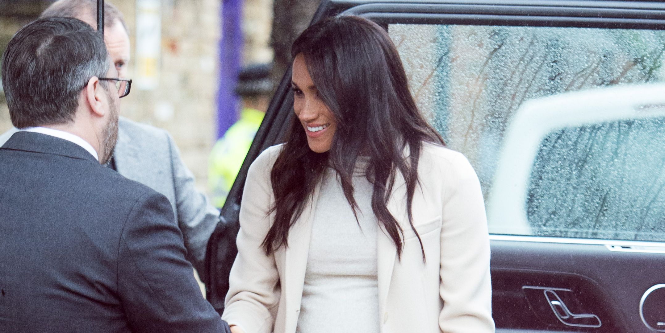 Meghan Markle Pairs Armani with H&M for a Chic Monochrome Neutral Look