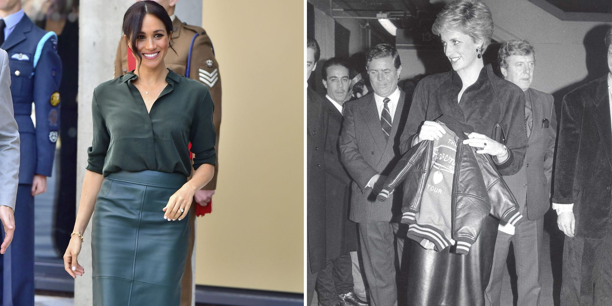 abcb021d2 How Meghan Markle Channeled Princess Diana with Her Leather Skirt