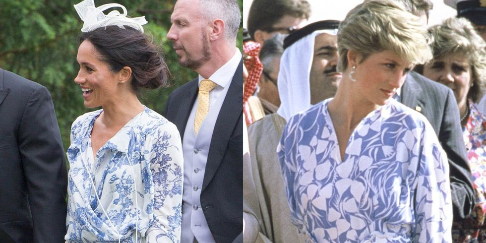 Meghan Markle Channeled Princess Diana in Her Printed Blue Dress
