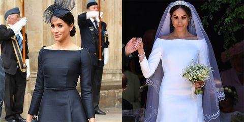fb93c601231 Left  Meghan at The RAF Centenary service on July 10  Right  Meghan at her  wedding to Prince Harry on May 19