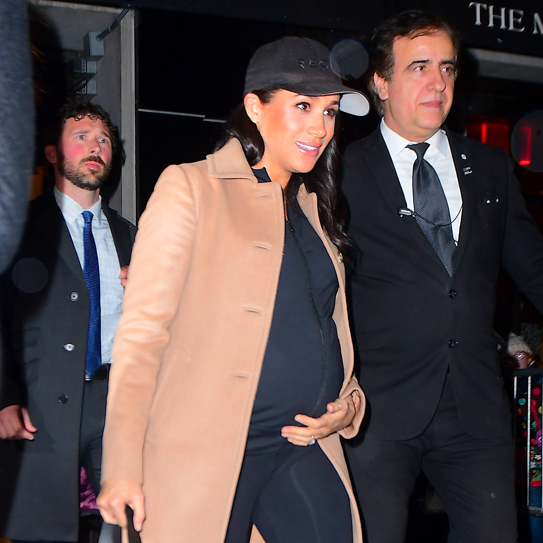 Meghan Markle Rocks a Camel Coat and Workout Gear to Return Home from Her Baby Shower