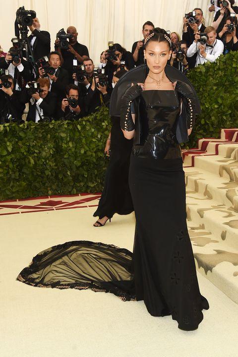 Bella Hadid Wears All Black At The Met Gala 2018 Red Carpet