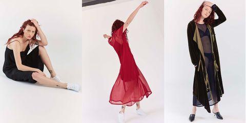 Clothing, Fashion model, Dress, Fashion, Footwear, Shoulder, Pink, Outerwear, Fashion design, Leg,