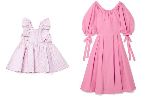 Clothing, Pink, Dress, Day dress, Sleeve, Gown, A-line, Robe, Neck, Pattern,