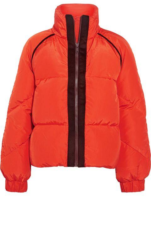 Jacket, Clothing, Outerwear, Hood, Orange, Red, Sleeve, Puffer, Zipper, Top,