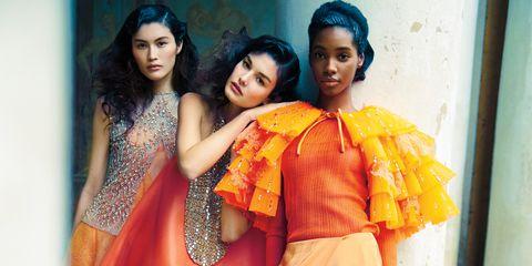 Yellow, Orange, Sari, Fashion, Photo shoot, Formal wear, Event, Photography, Fashion design, Peach,
