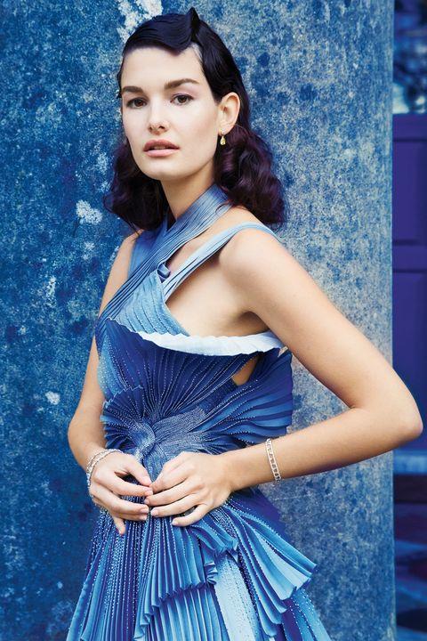 Blue, Clothing, Fashion model, Photo shoot, Beauty, Fashion, Dress, Model, Electric blue, Photography,