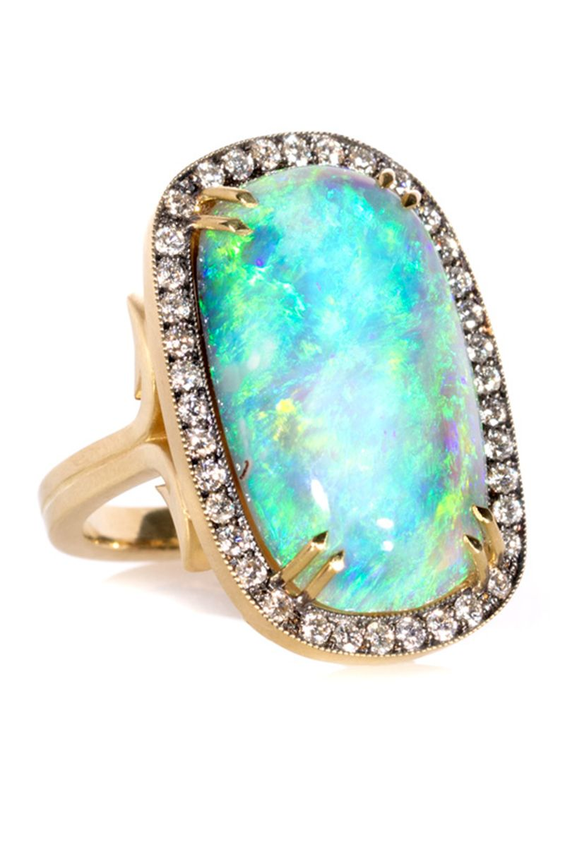 Sterling Silver Jewelry Ethiopian Opal Ring Pave Diamond Ring Statement Ring Diamond Opal Jewelry Gemstone Ring Jewelry Gift For Her
