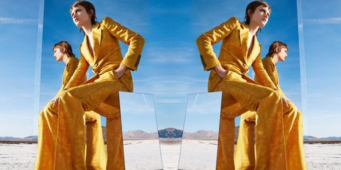Suit, Formal wear, Yellow, Fun, Standing, Photography, Leisure, Outerwear, Gesture, Photomontage,