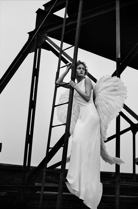 White, Photograph, Black, Dress, Bride, Black-and-white, Beauty, Standing, Monochrome photography, Gown,