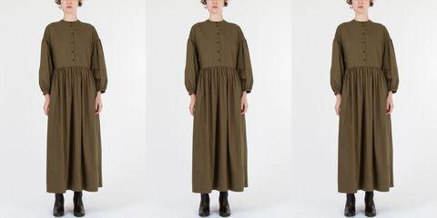 Clothing, Outerwear, Khaki, Robe, Sleeve, Dress, Fashion, Overcoat, Fashion design, Day dress,