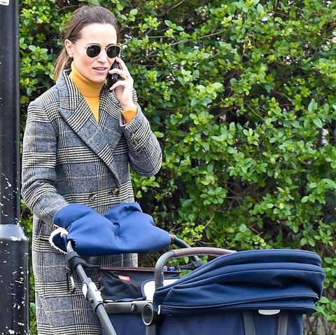 Pippa Middleton is seen walking her baby Arthur Michael William
