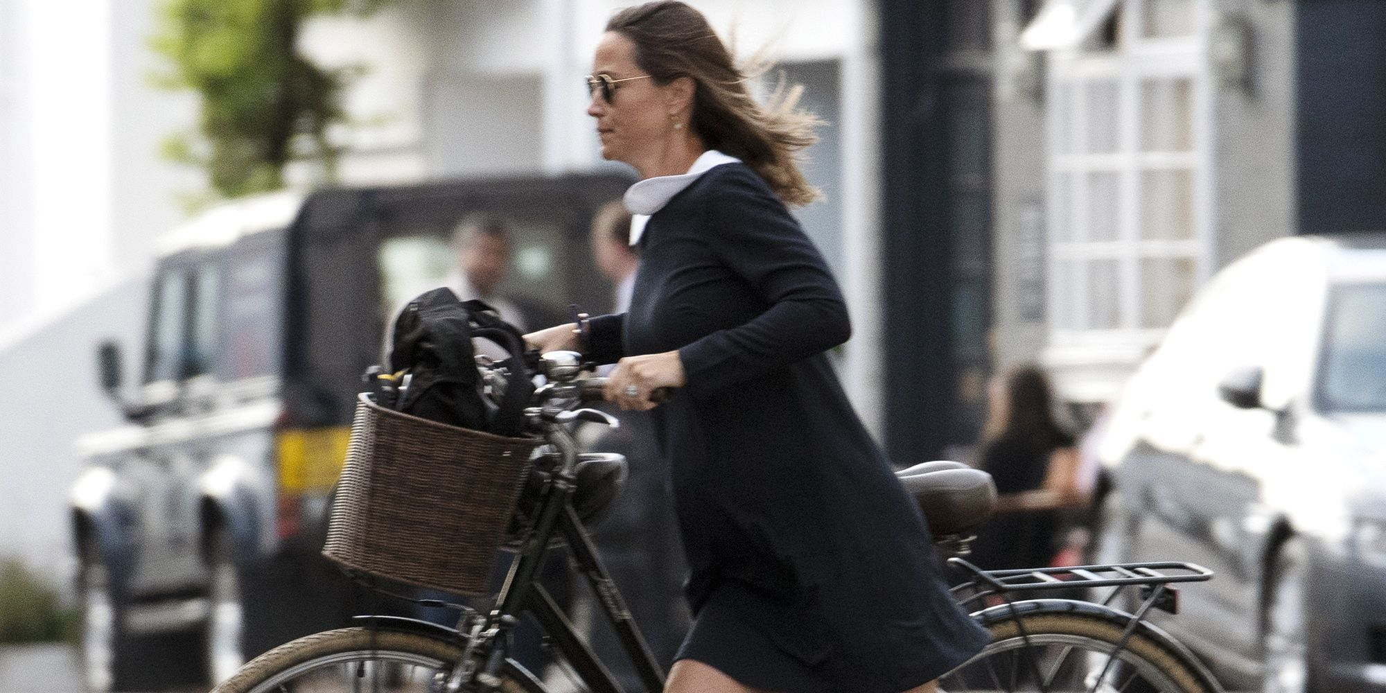 6305bc729 Pippa Middleton Wears a Wednesday Addams Dress on a Bike Ride