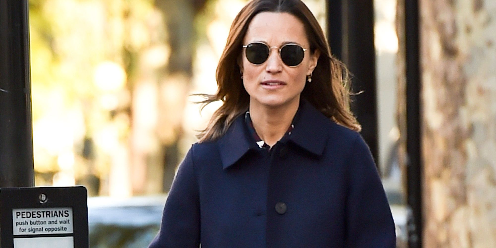EXCLUSIVE: Pippa Middleton is seen walking her new baby in kensington with a friend.
