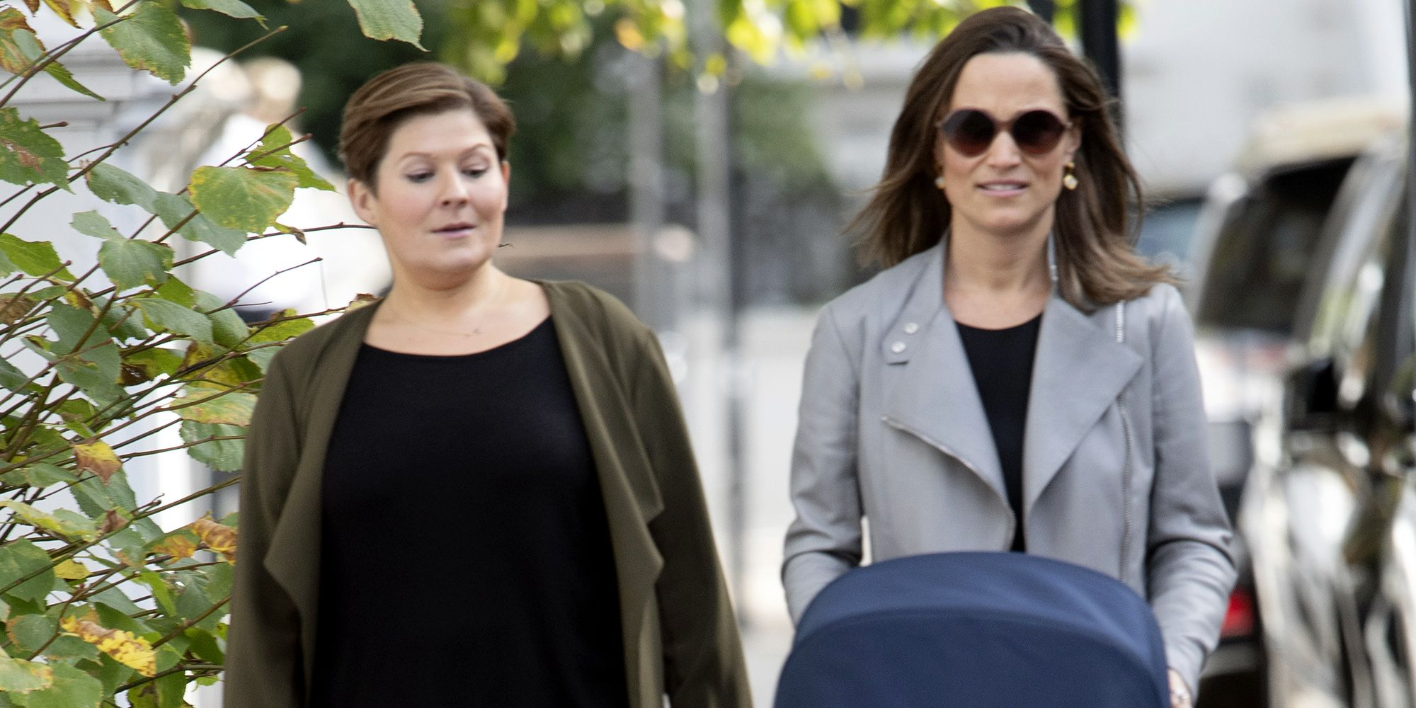 091bcafa6f62 Pippa Middleton Takes Her New Baby for a Stroll in a Chic Motorcycle ...