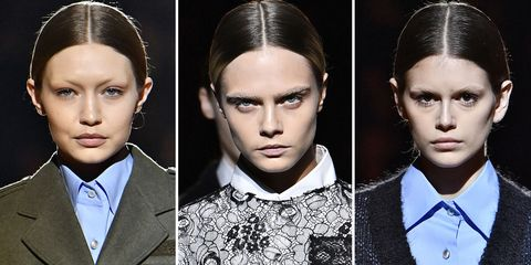 e5a2215640189f Gigi Hadid, Cara Delevingne, and Kaia Gerber Just Walked The Prada Runway  Without Eyebrows