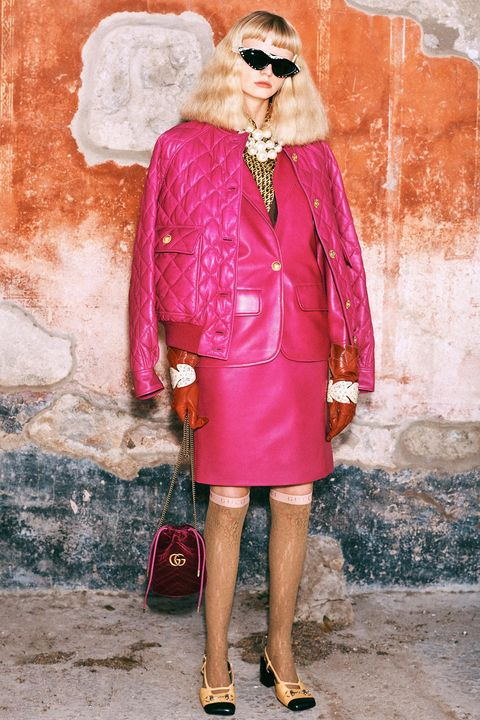 Pink, Clothing, Street fashion, Red, Fashion, Magenta, Footwear, Outerwear, Dress, Coat,