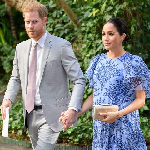 9efaa0c7b4 Meghan Markle Wears Custom Carolina Herrera to Meet the King of Morocco  with Prince Harry