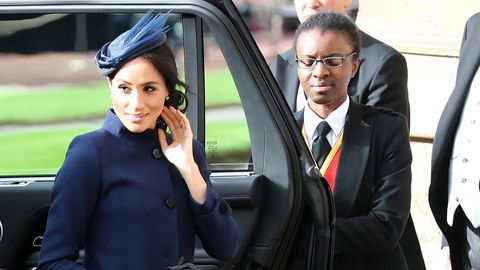 156e6adf788 image. Getty Images. Meghan Markle has arrived to Princess Eugenie s wedding  wearing ...
