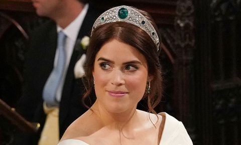 4478d976b Princess Eugenie Wears Queen Elizabeth's Emerald Greville Tiara at ...