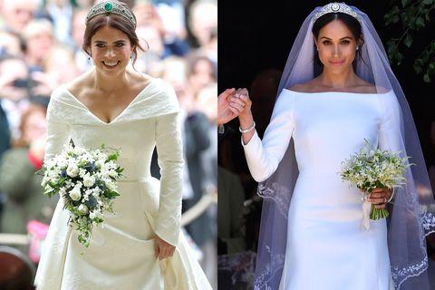 princess eugenie s second royal wedding dress compared to meghan markle s royal wedding dress compared to meghan