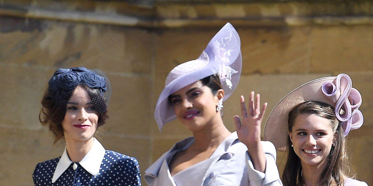 92a5b840278 Priyanka Chopra Wears Phillip Treacy Hat to Royal Wedding - Priyanka Chopra  Attends Prince Harry Meghan Markle Wedding