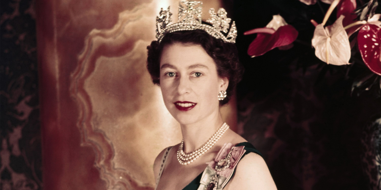 Young Queen Elizabeth II Wearing Her Crown
