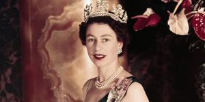 Young Queen Elizabeth II Wearing Her Crown