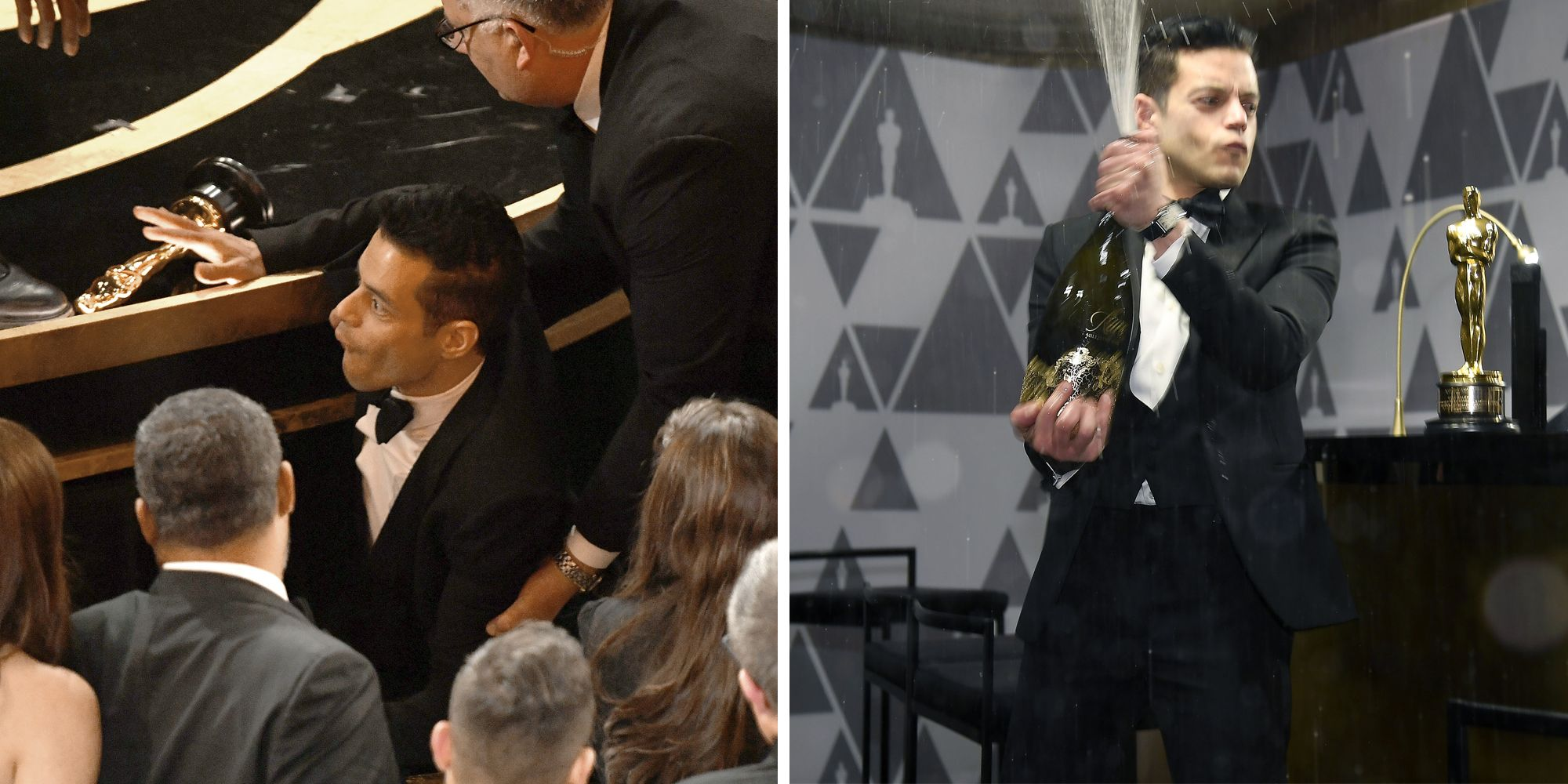 Rami Malek Fell Off the Oscars Stage and Celebrated Best