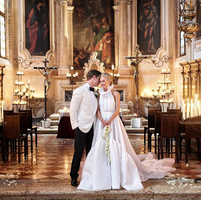 Photograph, Bride, Wedding dress, Dress, Gown, Ceremony, Bridal clothing, Chapel, Event, Religious institute,