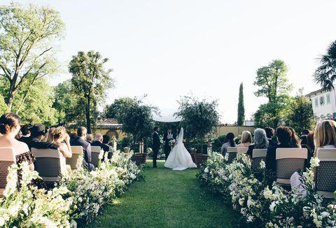 Photograph, Ceremony, Event, Wedding, Backyard, Bride, Dress, Wedding dress, Floral design, Marriage,