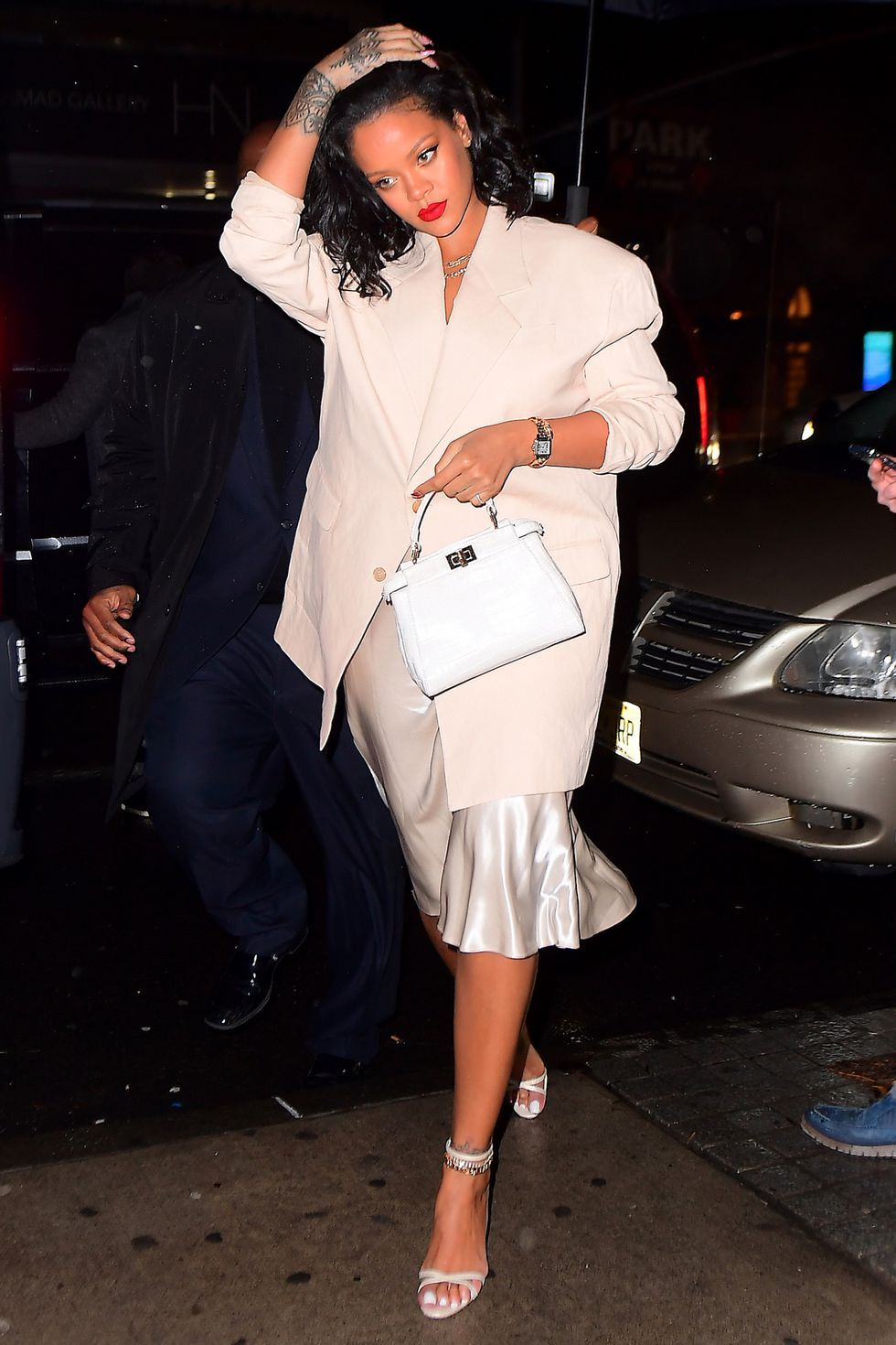 Rihanna Stuns In Satin Dress While Out To Dinner In NYC