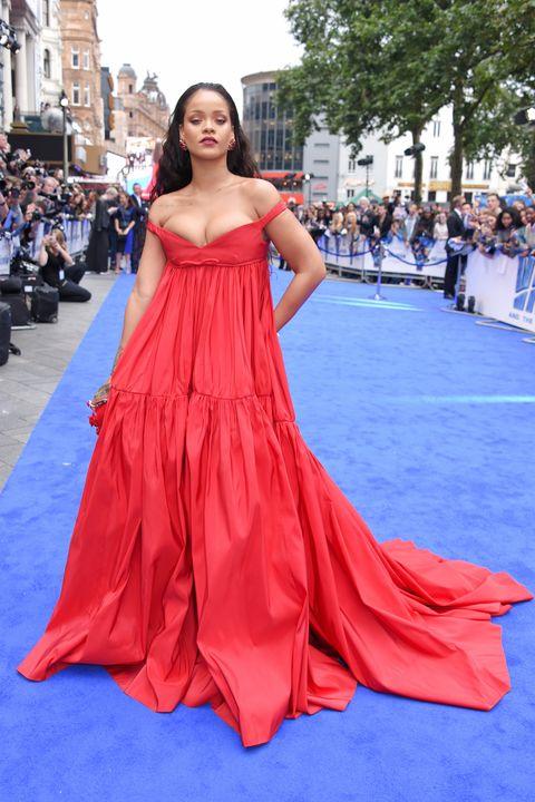 Rihanna Wears Red Dress to Valerian London Premiere - Rihanna ...