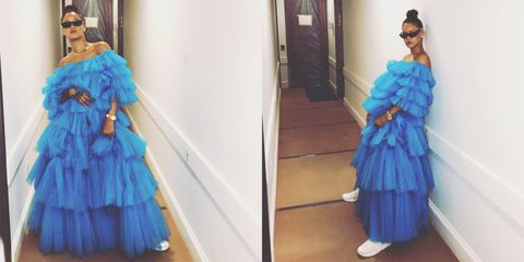 4edf3e747885d Rihanna Wears a Ball Gown with Sneakers - Rihanna Blue Molly Goddard ...