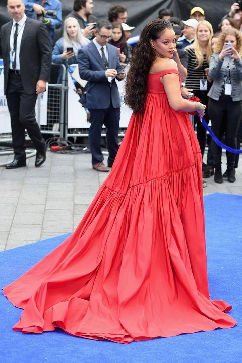 Rihanna Wears Red Dress To Valerian London Premiere